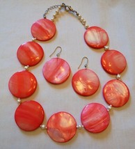 Vintage Mother of Pearl Necklace & Earrings Set Pink MOP Shell Faux Pear... - $24.70