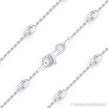 4mm Moon Cut & Anchor Cable Link Sterling Silver Rhodium Italian Chain Necklace - $37.31 - $68.20