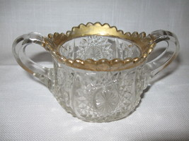 Child's Oval Star Pattern #300 Sugar Bowl Gold Trim Indiana Glass Co 1910 - $12.95