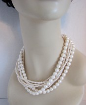 1970s Necklace 7 Strands Faux Pearls Choker Wedding - $48.00