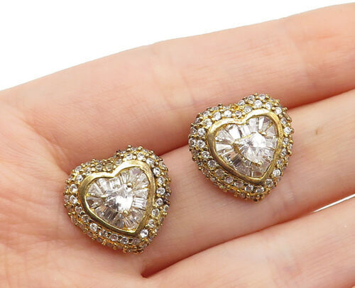 Primary image for 925 Sterling Silver - Vintage Cubic Zirconia Love Heart Drop Earrings - E8607