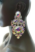 """4.75"""" Long Oversized AB Rhinestones Clip On Earrings Drag Queen, Pageant, Bridal - $29.40"""