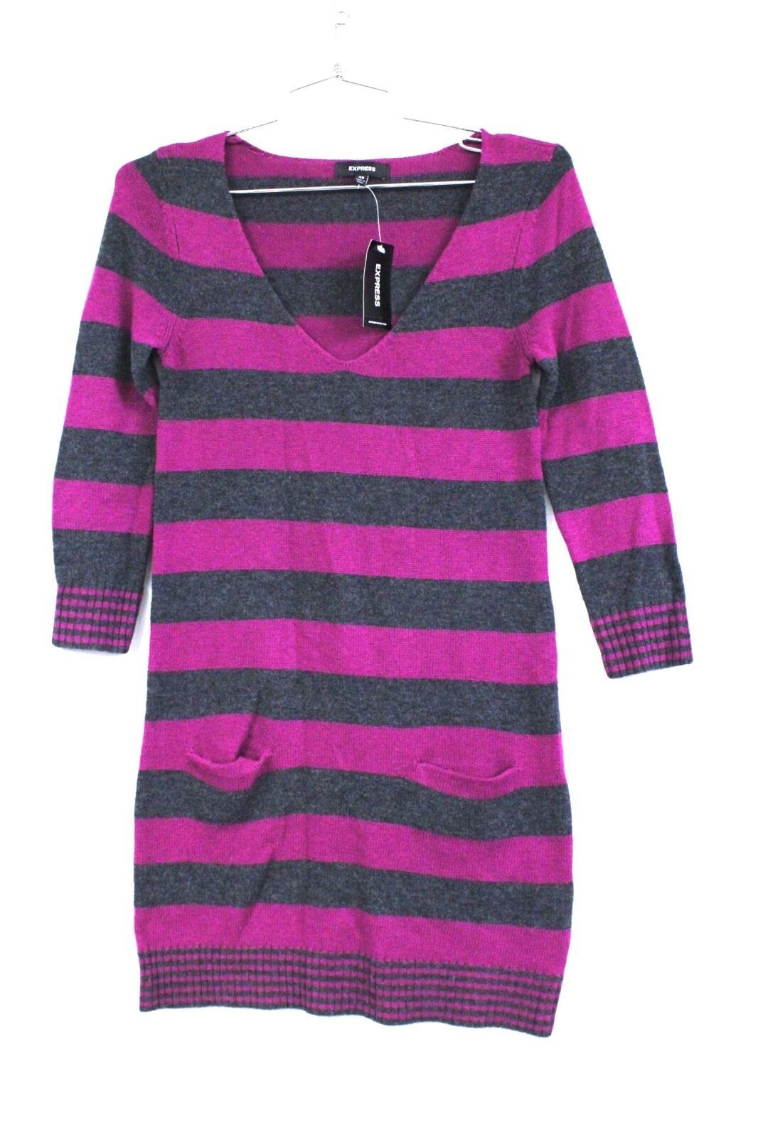 Primary image for Express Striped Sweater Dress Tunic sz XS V-neck LS Deep Pink Gray NWT $69.50