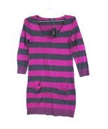 Express Striped Sweater Dress Tunic sz XS V-neck LS Deep Pink Gray NWT $... - $24.00