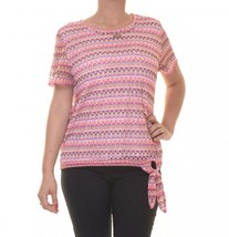 Alfred Dunner Women's Beaded Knot-Tie Crochet Top Multi L 4180-3 - $23.14