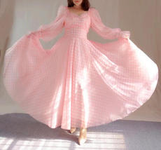Pink Tutu Dress for Adults Gown Long Sleeve Retro Pink Plaid Tutu Birthday Gown image 8
