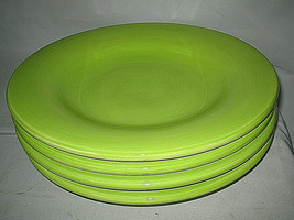 Tabletops Unlimited Espana Bright Green Dinner Plates 4-pc set Round 11 ... - $27.99
