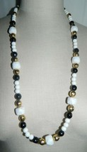 JONES NEW YORK Gold Tone Black Gold White Flower Molded Beaded Necklace - $39.60
