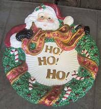 Fitz Floyd Christmas Plate Santa Claus Wreath Bow St. Nick Ho Ho Ho - $18.00