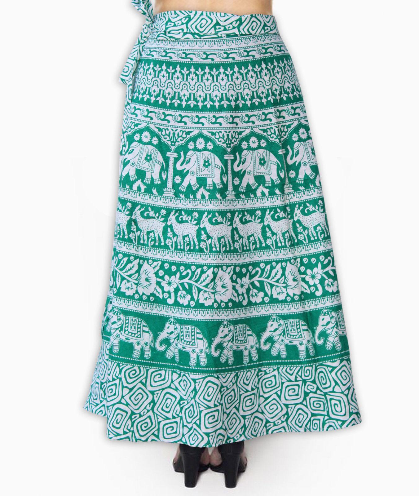 Boho India Elephant Cotton Handmade Printed Wrap Around Long Skirt