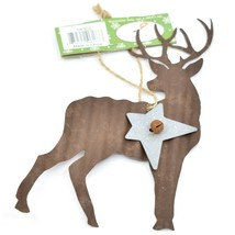 Holiday Bliss Rustic Metal Deer w Silver Star Christmas Ornament