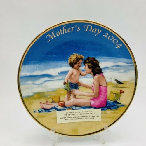 Avon Mothers Day Plates Set of 2 Years 2004 & 2005 with Easels