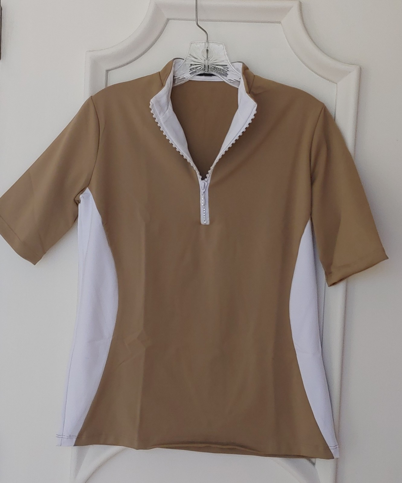 Stylish Women's Golf & Casual Short Sleeve Tan Mock Polo, Rhinestone Zipper