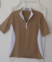 Stylish Women's Golf & Casual Short Sleeve Tan Mock Polo, Rhinestone Zipper  image 1