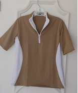 Stylish Women's Golf & Casual Short Sleeve Tan Mock Polo, Rhinestone Zip... - $29.95