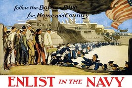 Enlist in the Navy follow the boys in blue for home and country by George Hand W - $19.99+