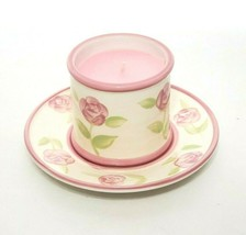 Rose Candle & Plate by Jackel Intl Pink & Cream Ceramic Votive  - €12,60 EUR