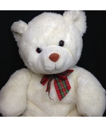 "Gund White Teddy Bear Plush Large 20"" Plaid Bow Green Red Ribbon Tails - $39.99"