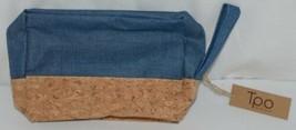 TPO Brand MP0005BL Hope Tan Cork Blue Jean Color Canvas Travel Makeup Pouch image 2