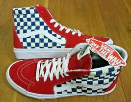Vans Mens Sk8-Hi BMX Checkerboard True Blue White Red Skate Shoes Size 11.5 NWT  - $67.31