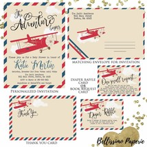 Vintage Airplane Baby Shower Invitation Set, Diaper Raffle, Envelope, Th... - £16.18 GBP