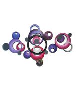 3 piece tranquility mirrored circles -purple n pink - 38x24 Contemporary... - $197.99