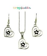 Lovely twin heart garnet Swarovski element crystal necklace & earring gi... - $22.00