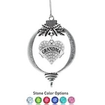 Inspired Silver Grandma Pave Heart Holiday Ornament- Select Your Stone C... - $14.69