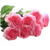 10 pcs Latex Real Touch Rose Decor Rose Artificial Flowers Silk Flowers ... - $18.54