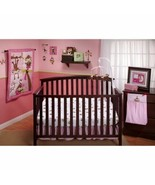 Pink Brown Monkey 10 pc Crib Bed Set Baby Girl Nursery Comforter Mobile ... - $133.55