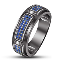 An item in the Jewelry & Watches category: 14k Black Gold Finish 925 Silver Men's Wedding Band Ring Round Cut Blue Sapphire