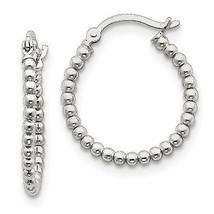 .925 Sterling Silver Polished Beaded Hoop Earrings - $16.81 CAD