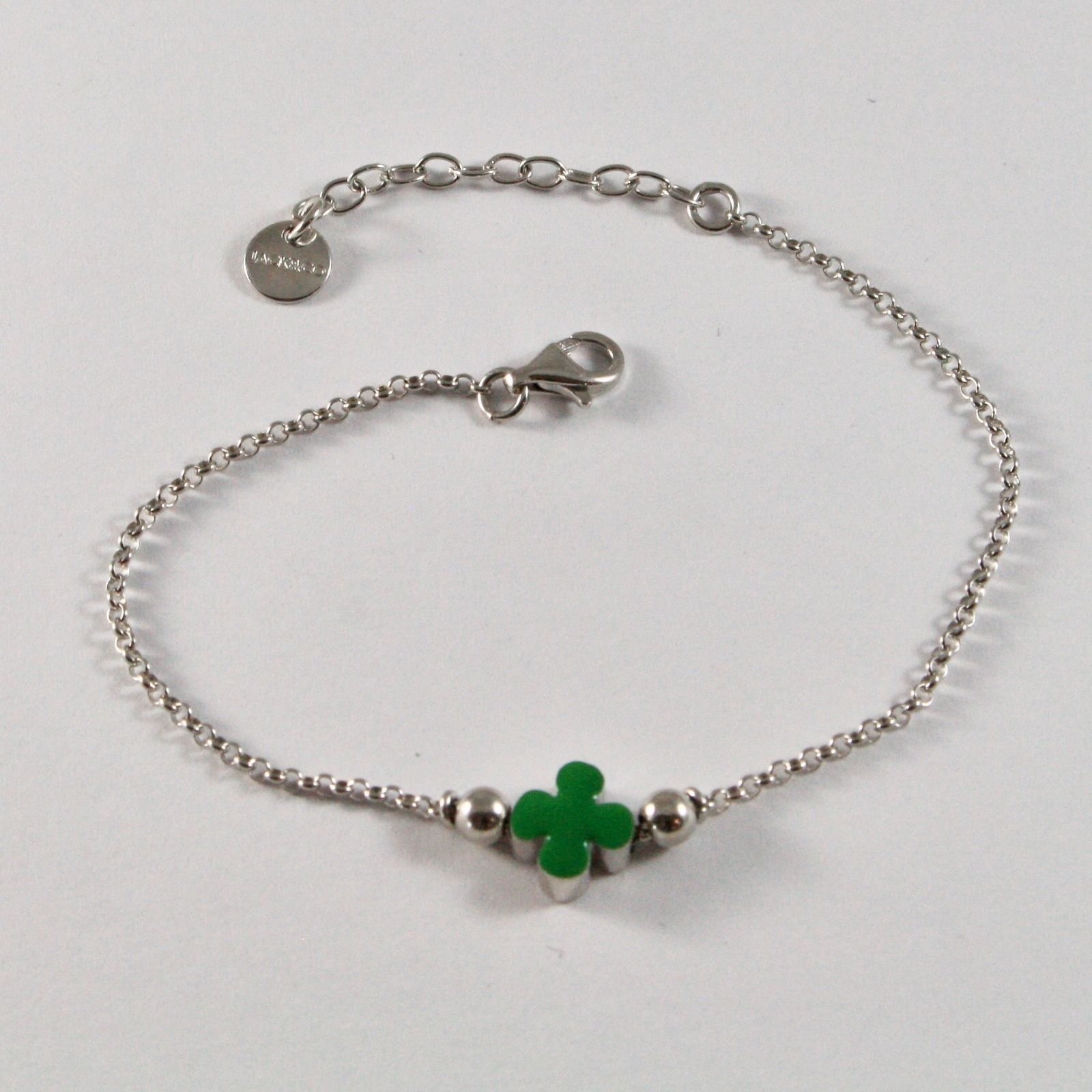 SILVER 925 BRACELET JACK&CO FOUR-LEAF CLOVER GOOD LUCK ENAMELLED JCB0904