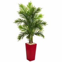 Multicolor 5.5' Areca Palm Artificial Tree in Red Planter (Real Touch) - 5.5 Ft. - $252.26
