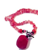 Vintage Coral Colored Glass Pebble Bead and Stone Necklace with Bar Clasp - $19.95