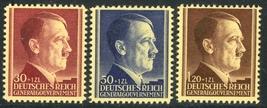 1942 Hitler Birthday Set of 3 Poland Postage Stamps Catalog Number NB12-14 MNH