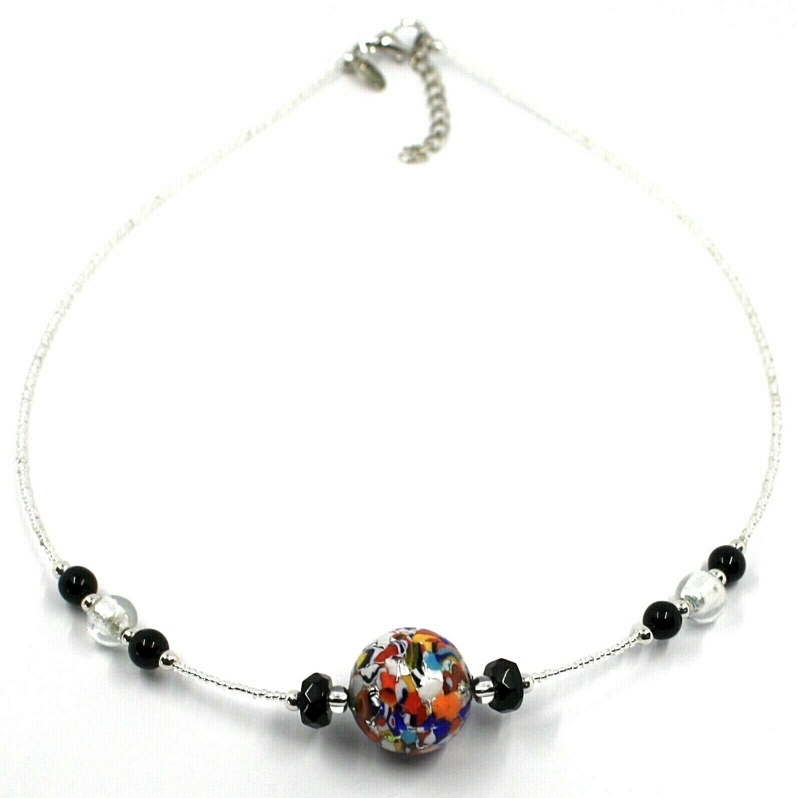 NECKLACE MACULATE MULTI COLOR MURANO GLASS BIG SPHERE, SILVER LEAF, ITALY MADE