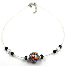 NECKLACE MACULATE MULTI COLOR MURANO GLASS BIG SPHERE, SILVER LEAF, ITALY MADE image 1