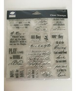 Fiskars Cloud 9 Simple Thoughts Boy Stamps Clear Acrylic Scrapbooking Sa... - $9.99