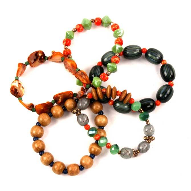 Treska Colorful Boho 5-Strand Wood/Shell Playa Beaded Stretch Bracelet-40% OFF! image 1