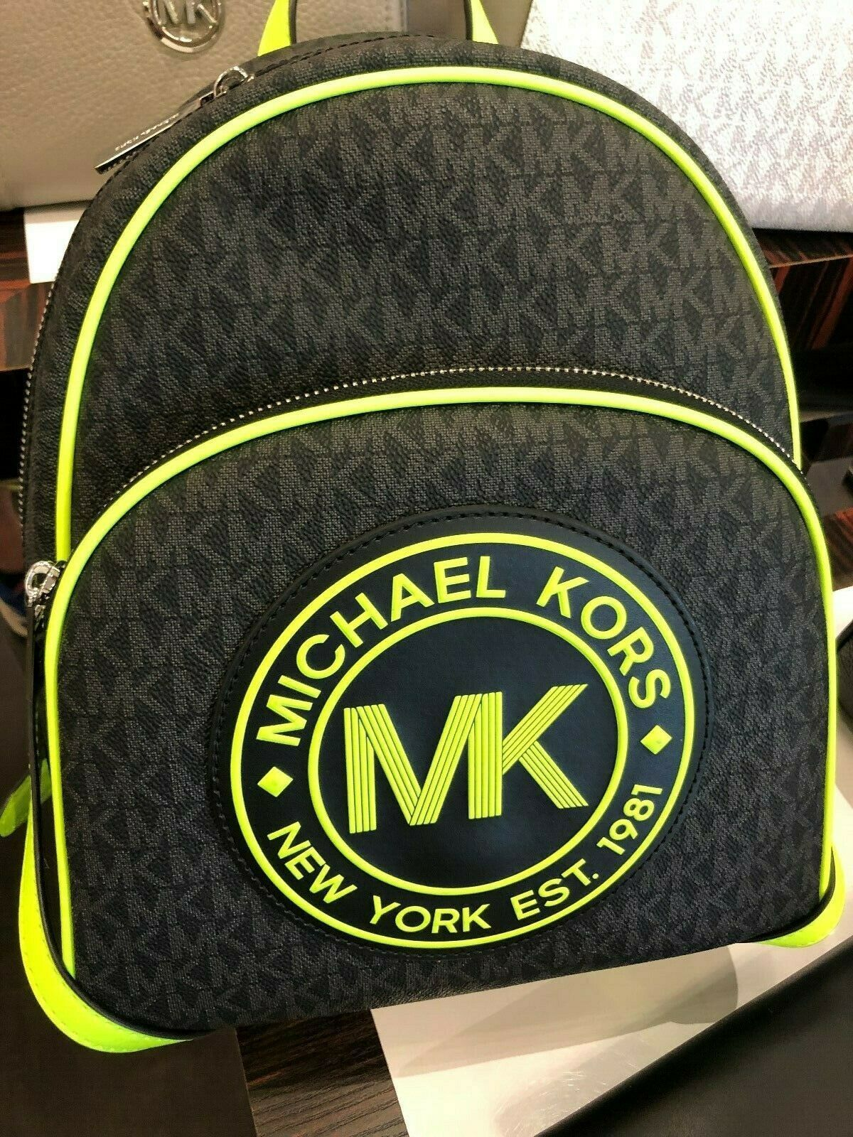 Michael Kors Fulton Sport Medium Black Signature Tech Backpack In Neon Lime $398