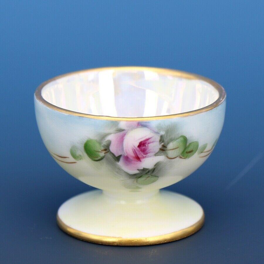 Vintage Open Salt Dip Cellar Footed Porcelain Hand Painted Roses