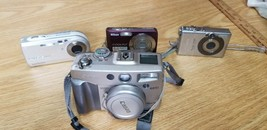 (Lot) 4 Cameras Nikon Coolpix S210 PowerShot Sd400 G2 Cybershot p100 *for parts* - $23.86