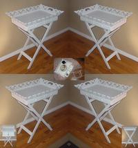 Four (4) white wood portable folding snack coff... - $165.00