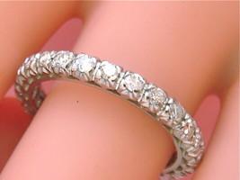 VINTAGE MID-CENTURY 1.0 ctw DIAMOND PLATINUM ETERNITY BAND RING 1950 siz... - $2,246.31