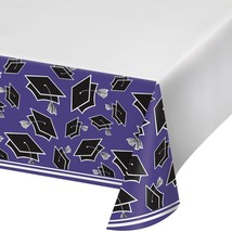 Purple Black 54 x 102 Border Print Tablecover Graduation School Spirit - $7.99