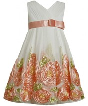 Bonnie Jean Little Girl 2T-6X Coral Ivory Cross Over Bonaz Rosette Border Dress