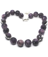 Silver 925 Necklace, Spheres Large Amethyst Faceted 20 mm, Length 50 CM - $191.01