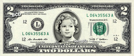 Shirley Temple On Real Two Dollar Bill Cash Money Memorabilia Novelty Collectibl - $12.22