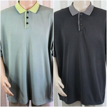 Lot of 2 TOMMY BAHAMA Men's L Large Short Sleeve 3 Button Collar Polo Shirts - $28.05